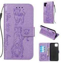 Embossing Tiger and Cat Leather Wallet Case for Google Pixel 4 XL - Lavender