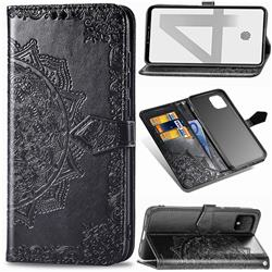 Embossing Imprint Mandala Flower Leather Wallet Case for Google Pixel 4 XL - Black