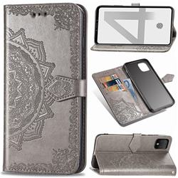 Embossing Imprint Mandala Flower Leather Wallet Case for Google Pixel 4 XL - Gray