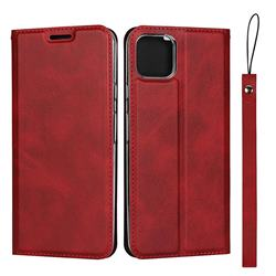 Calf Pattern Magnetic Automatic Suction Leather Wallet Case for Google Pixel 4 XL - Red