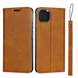 Calf Pattern Magnetic Automatic Suction Leather Wallet Case for Google Pixel 4 XL - Brown