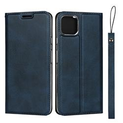 Calf Pattern Magnetic Automatic Suction Leather Wallet Case for Google Pixel 4 XL - Blue