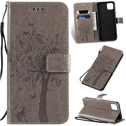 Embossing Butterfly Tree Leather Wallet Case for Google Pixel 4 XL - Grey