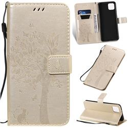 Embossing Butterfly Tree Leather Wallet Case for Google Pixel 4 XL - Champagne