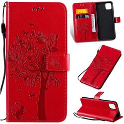 Embossing Butterfly Tree Leather Wallet Case for Google Pixel 4 XL - Red