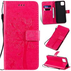 Embossing Butterfly Tree Leather Wallet Case for Google Pixel 4 XL - Rose