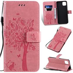 Embossing Butterfly Tree Leather Wallet Case for Google Pixel 4 XL - Pink