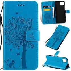 Embossing Butterfly Tree Leather Wallet Case for Google Pixel 4 XL - Blue