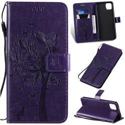 Embossing Butterfly Tree Leather Wallet Case for Google Pixel 4 XL - Purple