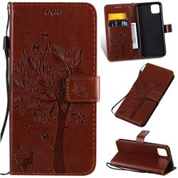 Embossing Butterfly Tree Leather Wallet Case for Google Pixel 4 XL - Coffee
