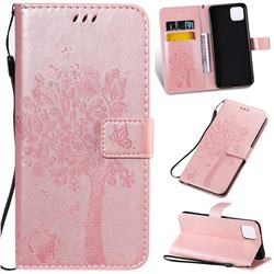 Embossing Butterfly Tree Leather Wallet Case for Google Pixel 4 XL - Rose Pink