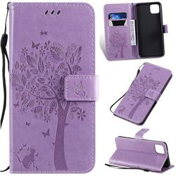Embossing Butterfly Tree Leather Wallet Case for Google Pixel 4 XL - Violet