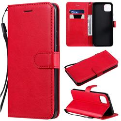 Retro Greek Classic Smooth PU Leather Wallet Phone Case for Google Pixel 4 XL - Red
