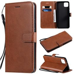 Retro Greek Classic Smooth PU Leather Wallet Phone Case for Google Pixel 4 XL - Brown