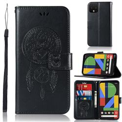 Intricate Embossing Owl Campanula Leather Wallet Case for Google Pixel 4 XL - Black