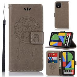 Intricate Embossing Owl Campanula Leather Wallet Case for Google Pixel 4 XL - Grey
