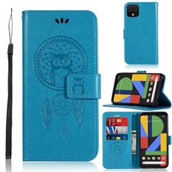 Intricate Embossing Owl Campanula Leather Wallet Case for Google Pixel 4 XL - Blue