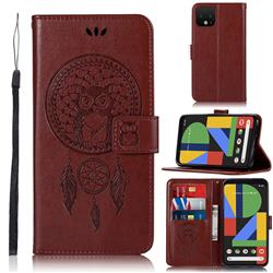 Intricate Embossing Owl Campanula Leather Wallet Case for Google Pixel 4 XL - Brown