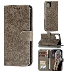 Intricate Embossing Lace Jasmine Flower Leather Wallet Case for Google Pixel 4 XL - Gray