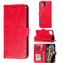 Intricate Embossing Lace Jasmine Flower Leather Wallet Case for Google Pixel 4 XL - Red