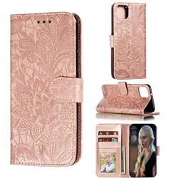 Intricate Embossing Lace Jasmine Flower Leather Wallet Case for Google Pixel 4 XL - Rose Gold
