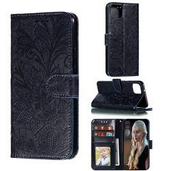 Intricate Embossing Lace Jasmine Flower Leather Wallet Case for Google Pixel 4 XL - Dark Blue