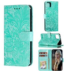 Intricate Embossing Lace Jasmine Flower Leather Wallet Case for Google Pixel 4 XL - Green