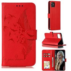 Intricate Embossing Lychee Feather Bird Leather Wallet Case for Google Pixel 4 XL - Red