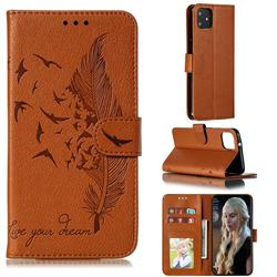 Intricate Embossing Lychee Feather Bird Leather Wallet Case for Google Pixel 4 XL - Brown