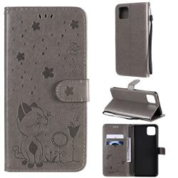 Embossing Bee and Cat Leather Wallet Case for Google Pixel 4 XL - Gray