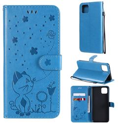 Embossing Bee and Cat Leather Wallet Case for Google Pixel 4 XL - Blue