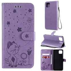 Embossing Bee and Cat Leather Wallet Case for Google Pixel 4 XL - Purple