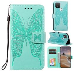 Intricate Embossing Vivid Butterfly Leather Wallet Case for Google Pixel 5 - Green