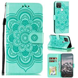 Intricate Embossing Datura Solar Leather Wallet Case for Google Pixel 5 - Green
