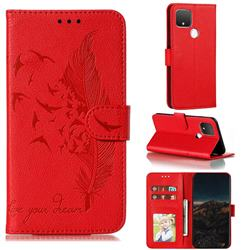 Intricate Embossing Lychee Feather Bird Leather Wallet Case for Google Pixel 5 - Red