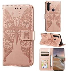 Intricate Embossing Rose Flower Butterfly Leather Wallet Case for Google Pixel 5 - Rose Gold