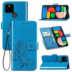 Embossing Imprint Four-Leaf Clover Leather Wallet Case for Google Pixel 5 - Blue