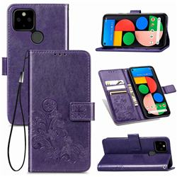 Embossing Imprint Four-Leaf Clover Leather Wallet Case for Google Pixel 5 - Purple