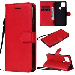 Retro Greek Classic Smooth PU Leather Wallet Phone Case for Google Pixel 5 - Red