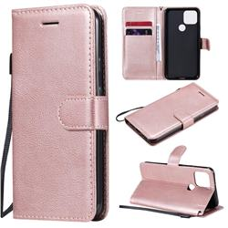 Retro Greek Classic Smooth PU Leather Wallet Phone Case for Google Pixel 5 - Rose Gold