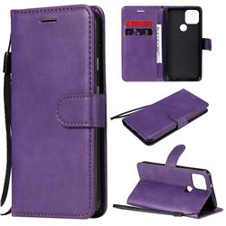 Retro Greek Classic Smooth PU Leather Wallet Phone Case for Google Pixel 5 - Purple