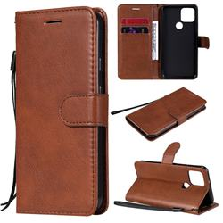 Retro Greek Classic Smooth PU Leather Wallet Phone Case for Google Pixel 5 - Brown