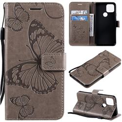 Embossing 3D Butterfly Leather Wallet Case for Google Pixel 5 - Gray