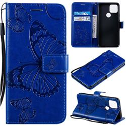 Embossing 3D Butterfly Leather Wallet Case for Google Pixel 5 - Blue