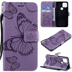 Embossing 3D Butterfly Leather Wallet Case for Google Pixel 5 - Purple
