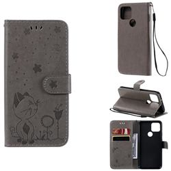 Embossing Bee and Cat Leather Wallet Case for Google Pixel 5 - Gray