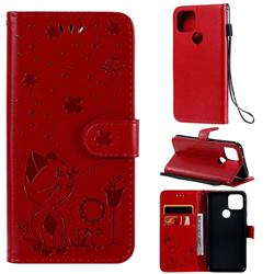 Embossing Bee and Cat Leather Wallet Case for Google Pixel 5 - Red
