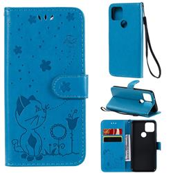 Embossing Bee and Cat Leather Wallet Case for Google Pixel 5 - Blue