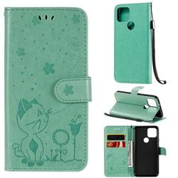 Embossing Bee and Cat Leather Wallet Case for Google Pixel 5 - Green