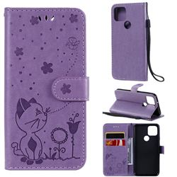 Embossing Bee and Cat Leather Wallet Case for Google Pixel 5 - Purple